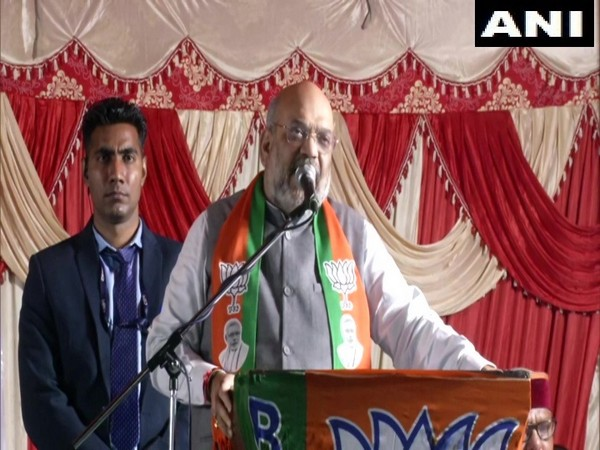 Union Home Minister Amit Shah addressing an election rally in New Delhi on Sunday.