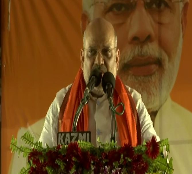 BJP president Amit Shah addressing an election rally at Mohanlalganj in Lucknow on Sunday