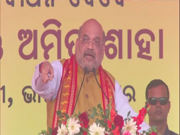 Home Minister Amit Shah speaking at the public event in Bhubaneswar on Friday.