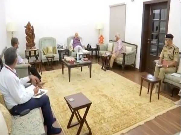 Union Home Minister Amit Shah holding a meeting with senior officers on Bijapur encounter at his residence here.