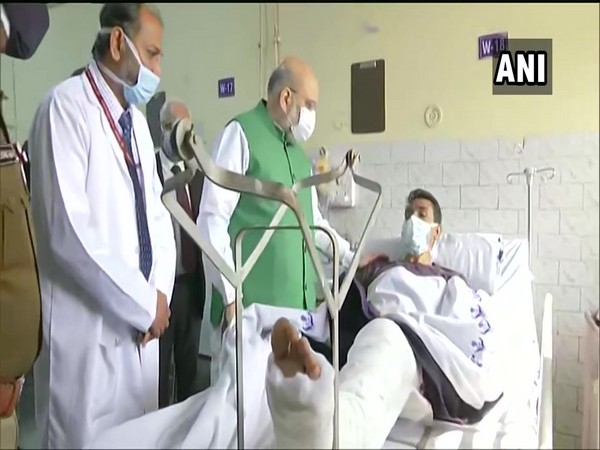 Union Home Minister Amit Shah meets injured police personnel at Sushruta Trauma Centre, Civil Lines
