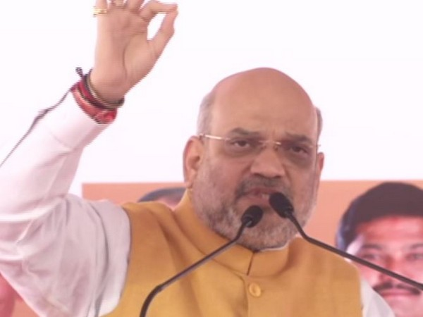 Home Minister and BJP president Amit Shah addressing an election rally at Kolhapur on Sunday. Photo/ANI