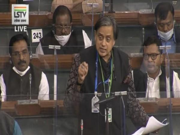 Congress leader Shashi Tharoor in Lok Sabha on Wednesday. (Photo/ANI)