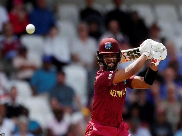 West Indies batsman Shai Hope while playing a shot