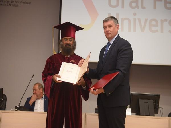 Sri Sri Ravi Shankar getting honorary doctorate by the Ural Federal University on Thursday. Photo/ANI