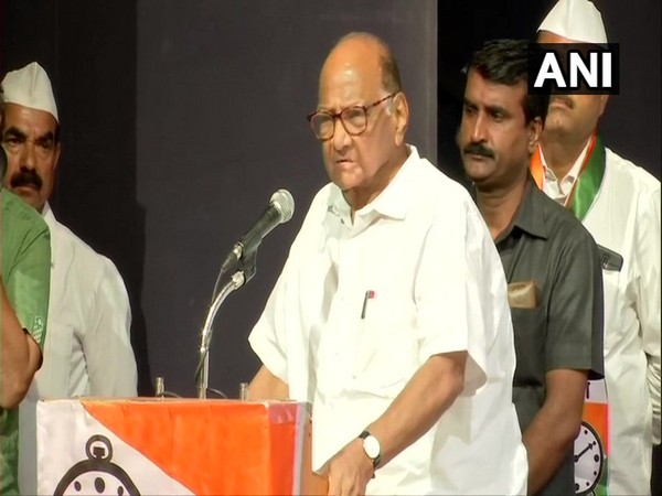 NCP chief Sharad Pawar at a party workers meeting in Mumbai on Monday. Photo/ANI