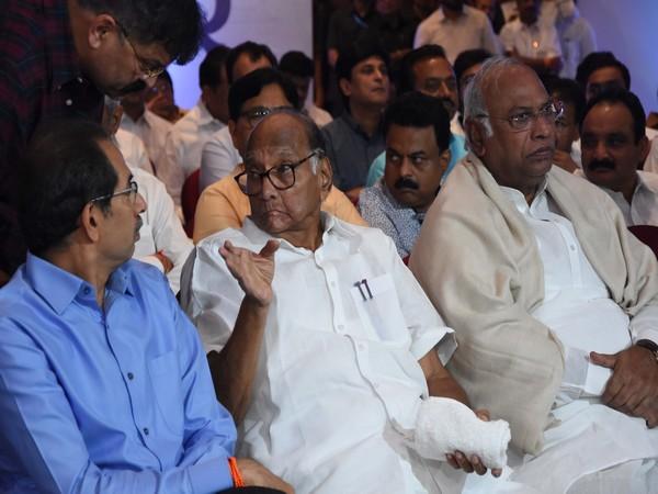 Shiv Sena chief Uddhav Thackeray and NCP president Sharad Pawar at a meeting in Mumbai on Monday. Photo/ANI