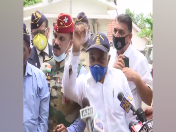 Madan Sharma, a retired Navy officer speaks to media in Mumbai outside Raj Bhawan on Tuesday. [Photo/ANI]