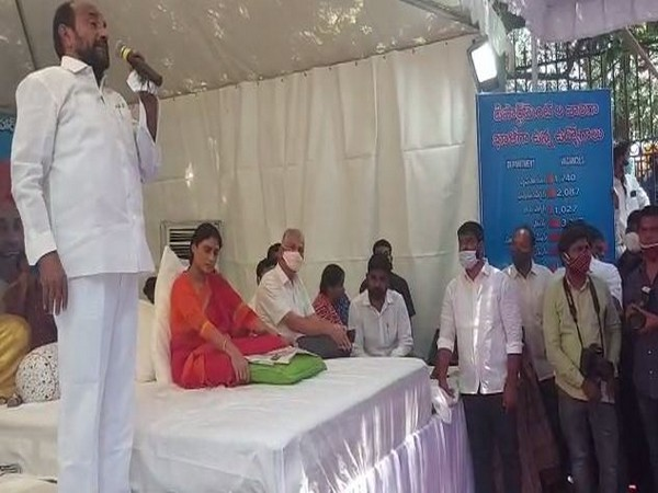 YS Sharmila, YSRCP star campaigner, talking to ANI during her road show on Sunday. Photo/ANI