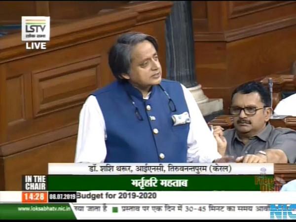Congress leader Shashi Tharoor in Lok Sabha on Monday. (Photo courtesy Lok Sabha TV)