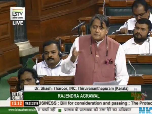Congress MP Shashi Tharoor speaking in Lok Sabha on Friday. Photo/ANI