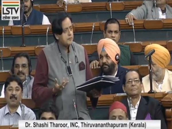 Congress MP Shashi Tharoor speaking in Lok Sabha on Tuesday. Photo/LS TV