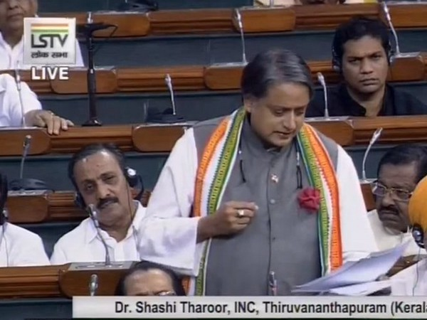 Congress leader Shashi Tharoor speaking in Parliament on Tuesday
