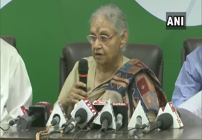 Congress leader Sheila Dikshit speaking at a press conference in new Delhi on Sunday Photo/ANI.