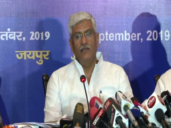 Union Minister Gajendra Singh Shekhawat speaking at a press conference in Jaipur, Rajasthan on Monday.