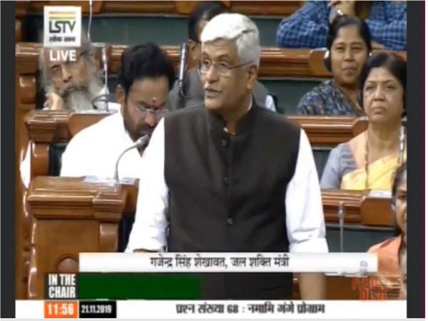 Jal Shakti Minister Gajendra Singh Shekhawat speaking in the Lok Sabha on Thursday.