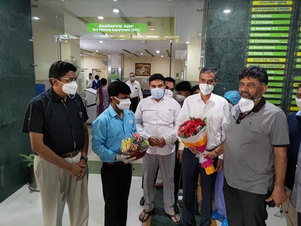Karnataka Congress president DK Shivakumar discharged from the hospital on Monday. (Photo: ANI)