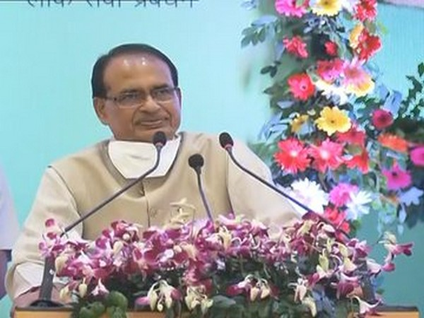 Madhya Pradesh Chief Minister Shivraj Singh Chouhan speaking at a public event on Tuesday.