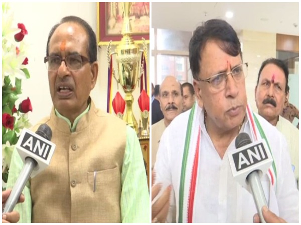 Shivraj Singh Chouhan (left) and PC Sharma (right) speaking to ANI in Bhopal, Madhya Pradesh on Thursday. Photo/ANI