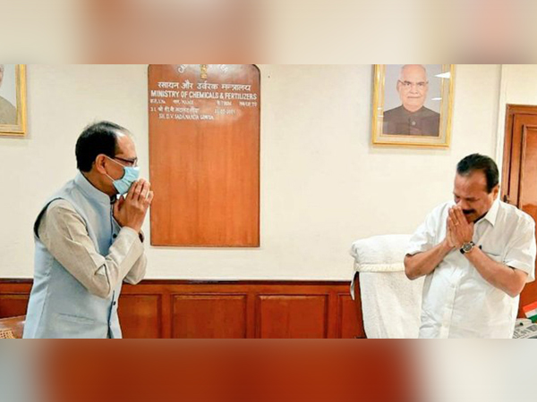 Madhya Pradesh Chief Minister Shivraj Singh Chouhan called on Union Chemicals and Fertilizers Minister D V Sadananda Gowda on Monday in New Delhi.