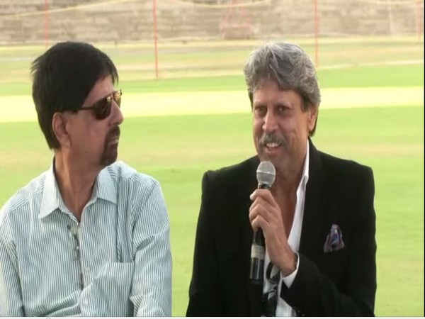 Krishnamachari Srikkanth along with Kapil Dev during an interaction in Chennai
