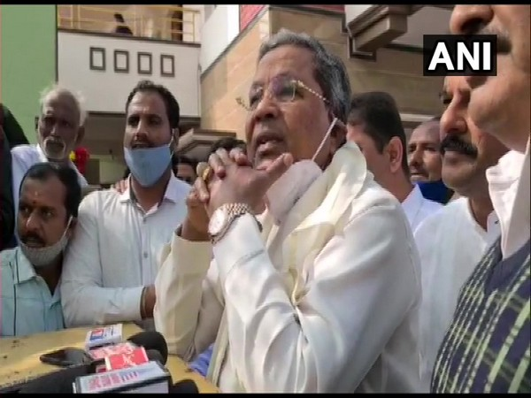 Congress leader and former Karnataka Chief Minister Siddaramaiah talking to reporters in Bengaluru on Saturday. (Photo/ANI)