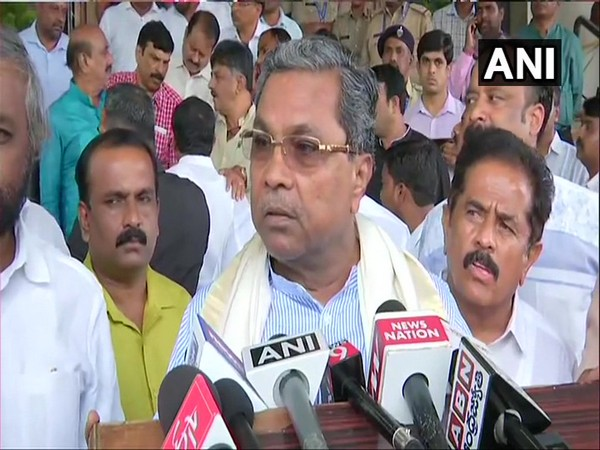 Congress leader Siddaramaiah talking to media at Bengaluru on Friday
