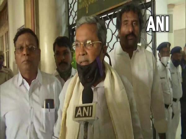 Leader of Opposition in Karnataka Assembly, Siddaramaiah speaking to ANI in Bengaluru on Friday. (Photo/ANI)