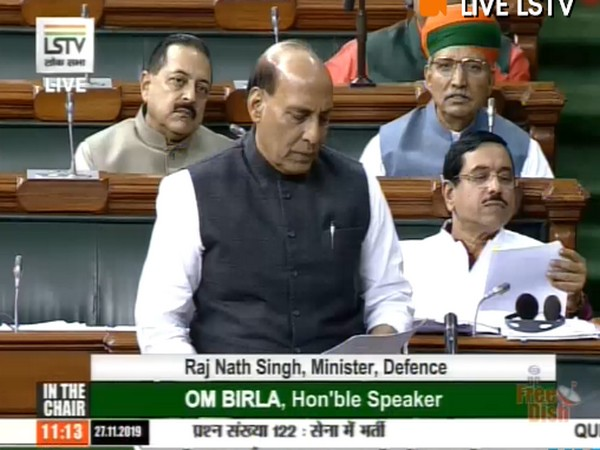 Defence Minister Rajnath Singh in Lok Sabha responding to a question on recruitment in Army on Wednesday [Photo/ANI]