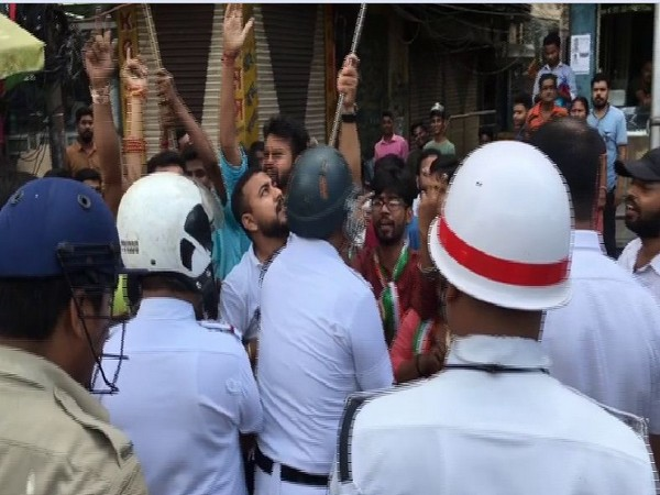 West Bengal police arrests BJYM members who were celebrating the scrapping of Article 370 in Siliguri on Monday. Photo/ANI