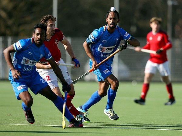 Indian men's hockey team in action against Great Britain during their Europe tour (Image: Hockey India)