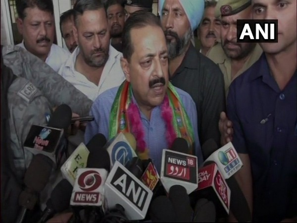 Union Minister Jitendra Singh speaking to reporters in Kathua on Sunday.