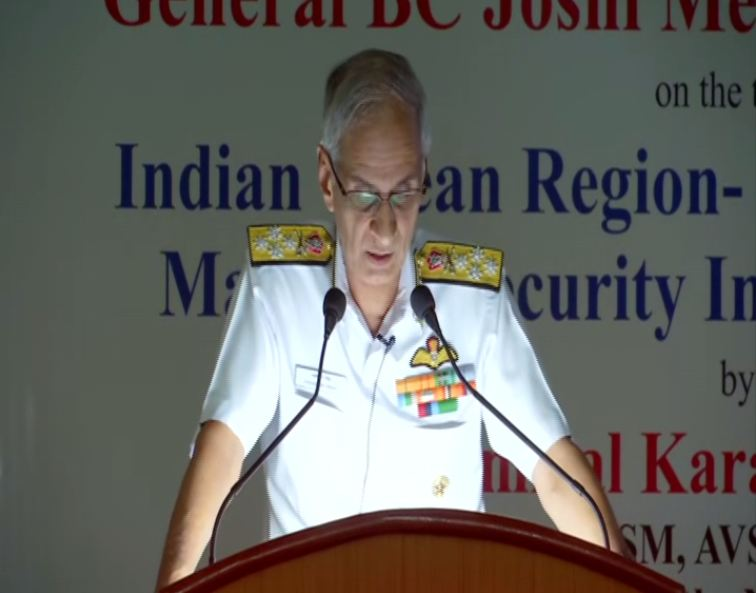 Navy chief Admiral Karambir Singh speaking in Pune, Maharashtra, on Monday. Photo/ANI