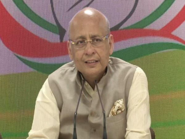 Congress spokesperson Abhishek Manu Singhvi talking to reporters at party's central office in New Delhi on Friday. Photo/ANI