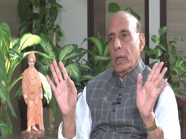 Defence Minister Rajnath Singh during an exclusive interview to ANI. (Photo/ANI)
