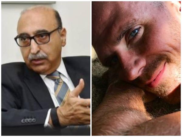 Ex-Pakistan envoy Abdul Basit (L) and adult film star Johnny Sins (R) (Picture credit: Twitter)