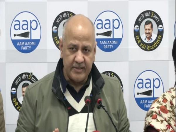 Manish Sisodia speaking to reporters in New Delhi on Wednesday. Photo/ANI