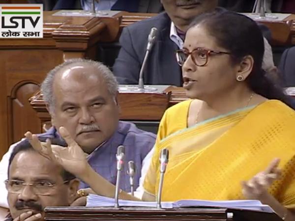 Union Finance minister Nirmala Sitharaman presenting Union Budget in Parliament on Saturday