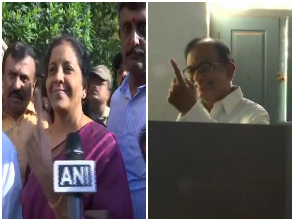 Congress leader P Chidambaram (L) and Defence Minister Nirmala Sitharaman (R) cast votes at Sivaganga and Bengaluru, respectively