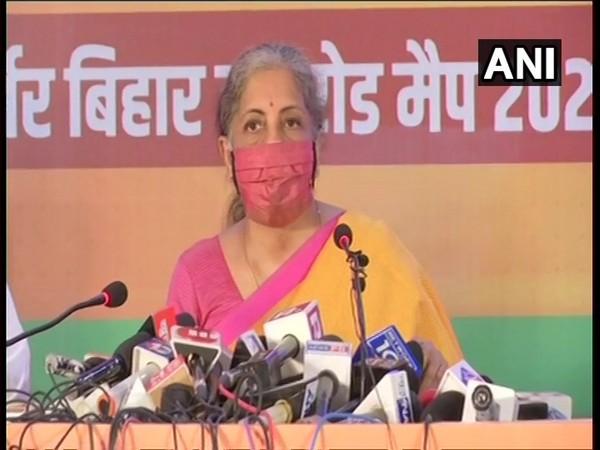 Union Finance Minister Nirmala Sitharaman during BJP's manifesto launch event in Patna. (Photo/ANI)