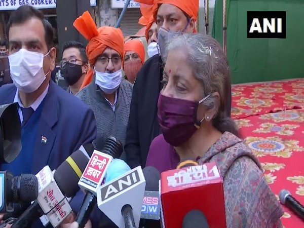 Union finance minister and BJP leader Nirmala Sitharaman speaking to media in New Delhi on Friday. (Photo/ANI)