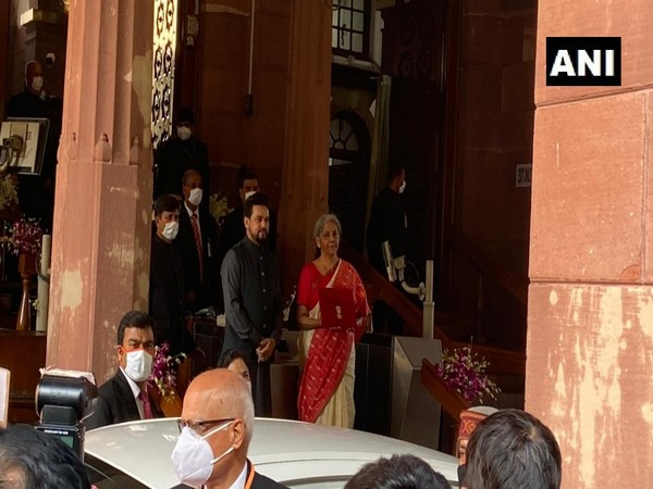 Union Finance Minister Nirmala Sitharaman reaches Parliament. (Photo/ANI)