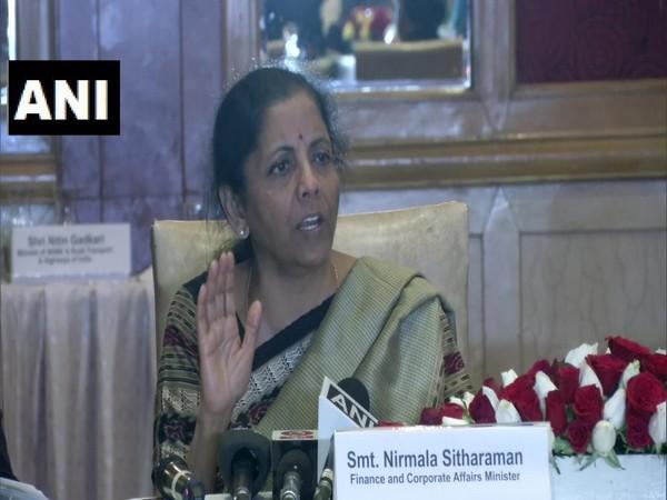 Finance Minister Nirmala Sitharaman addressing a press conference on Wednesday. Photo/ANI