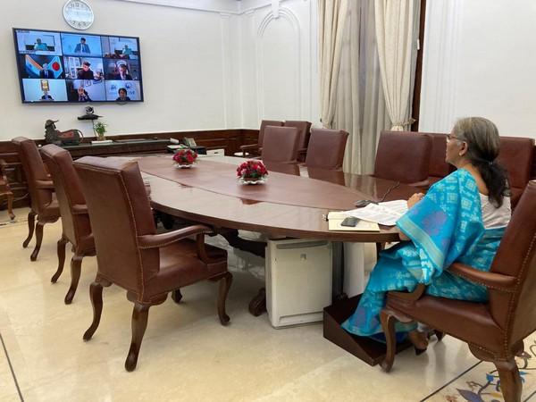 Union Finance Minister Nirmala Sitharaman during virtual session organised by CDRI (Image Courtesy: Twitter)
