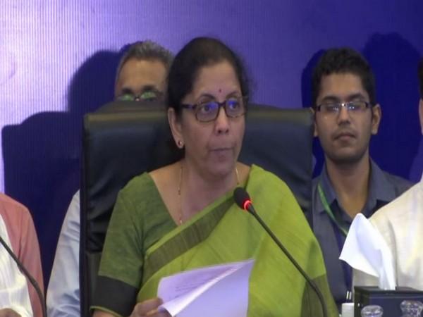 Finance Minister Nirmala Sitharaman talking to reporters in Goa.  Photo/ANI