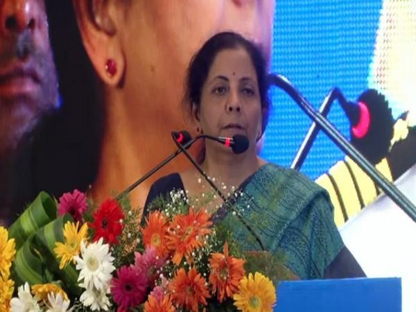 Finance Minister Nirmala Sitharaman addresses an event in Chennai on Saturday. Photo/ANI