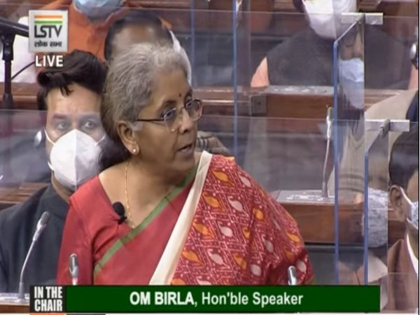 Finance Minister Nirmala Sitharaman presenting the Union Budget 2021-22 in Parliament. (Photo/ANI)