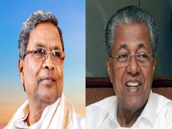 Karnataka's Siddaramaiah with Kerala CM Pinarayi Vijayan (Photo/ANI)