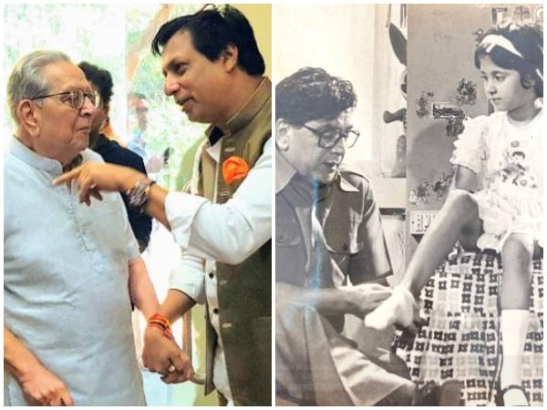 Veteran actor Shriram Lagoo with Madhur Bhandarkar (L), Urmila Matondkar (R)
