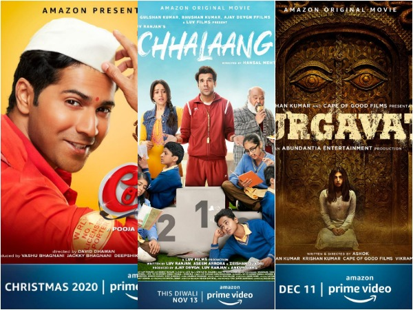Posters of the films to be released on Amazon Prime Video (Image courtesy: Twitter)